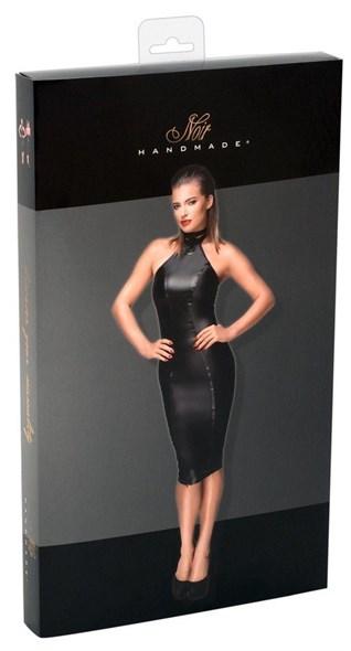 Платье Noir обтягивающее миди черное, S - фото 43365
