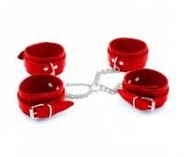 Бондаж крестовый наручники+поножи красный, искусственная кожа