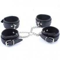 Бондаж крестовый наручники+поножи черный, искусственная кожа