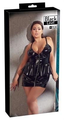 Платье Black Level Peplum лаковое на молнии черное, XL