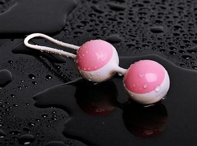 Вагинальный тренажер-шарики бело-розовые, Ø 3,3см
