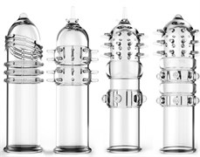 Насадка-фаллоудлинитель рельефная прозрачная в ассортименте