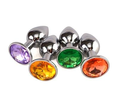 Плаг металл хром, цвет кристалла в ассортименте, D-2,8мм