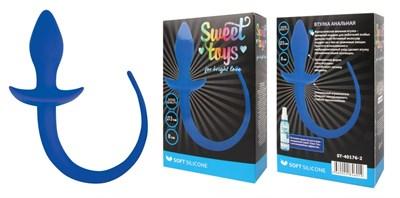 Анальная втулка Sweet Toys c хвостом из силикона синяя, D 30мм