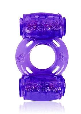 Вибро-кольцо Erowoman с двумя вибропулями, фиолетовый силикон